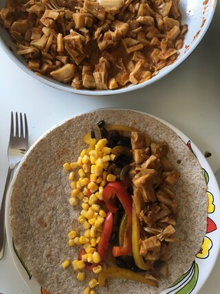 Wraps met pulled jackfruit